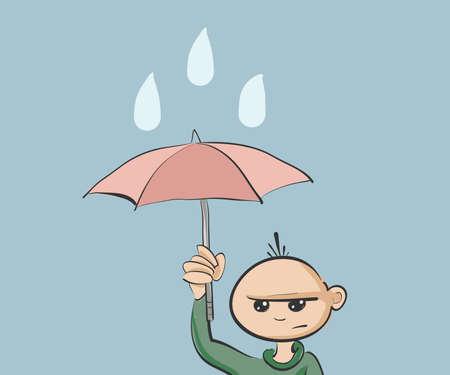 perişan: Çocuk şemsiye tutan. Clip-sanat, İllüstrasyon. Çizim