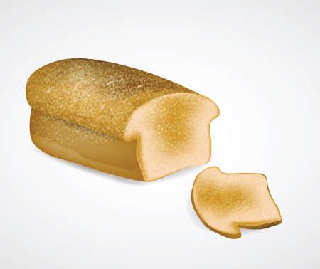 Bread with Slice . Clip-art, Illustration. Vector
