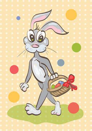 Illustration of easter rabbit caring a basket on vintage background . Clip-art, Illustration.