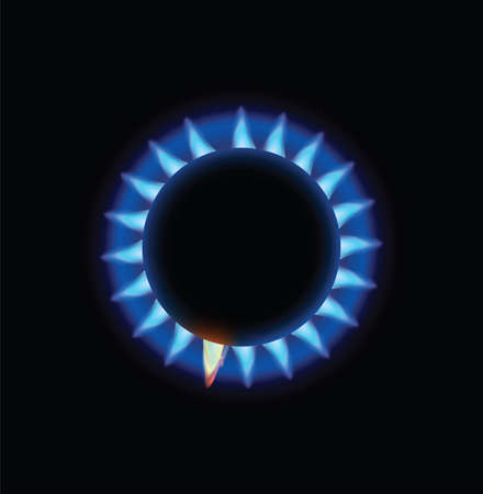 Burning Blue Flame Stove . Clip-art, Illustration. Vector