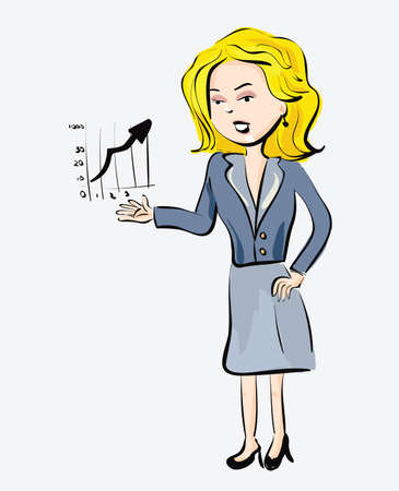 30 s: Illustration of business woman with finance graphic. Clip-art, Illustration.