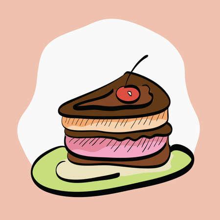 slice of cake: Slice of Cake Hand-Drawn Cartoon. Clip-art, Illustration.