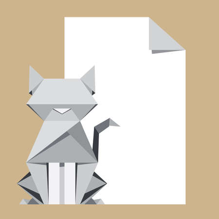 White cat origami with paper note Vector