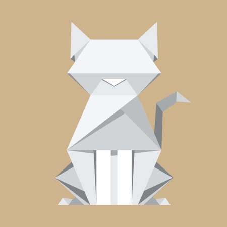 White paper cat origami Vector