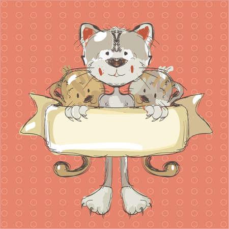 Illustration of three funny cats holding a banner. Clip-art, Illustration.