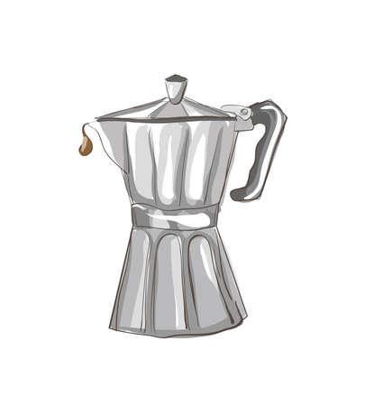 coffee maker: Boceto italiana Cafetera. Galer�a de im�genes, Ilustraci�n.