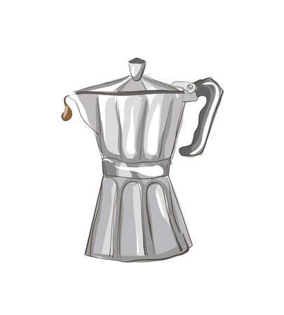 coffee maker: Italian Coffee maker sketch . Clip-art, Illustration.