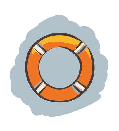 Hand-drawn Lifebuoy. Clip-art, Illustration. Vector
