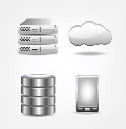 Collection of database icons. Clip-art, Illustration. Vector