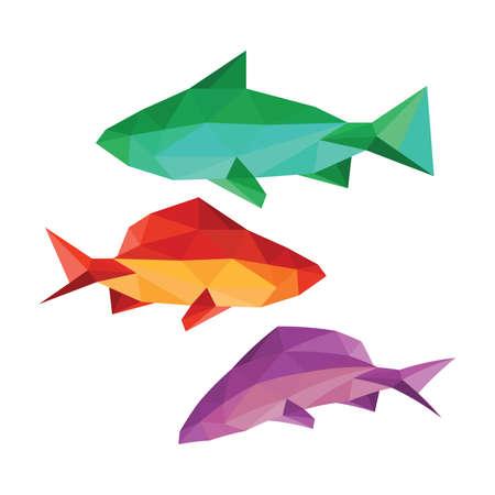 白い背景で隔離の別の折り紙の魚のコレクション  イラスト・ベクター素材