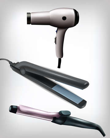 flat iron: Collection of realistic flat iron, curling iron and hair dryer . Clip-art, Illustration.