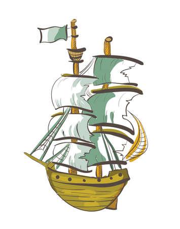 rope ladder: Color Dibujado a mano barco. Galer�a de im�genes, Ilustraci�n.