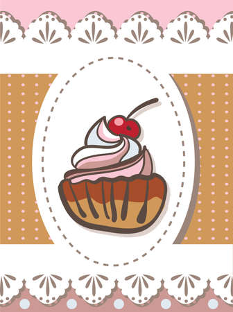 Illustration of delicious cupcake sketch on brown background . Clip-art, Illustration. Vector