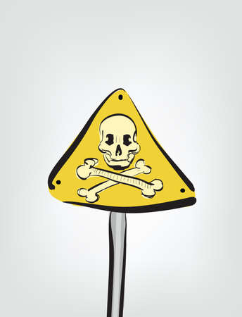 Illustration of cartoon skull sign . Clip-art, Illustration. Vector
