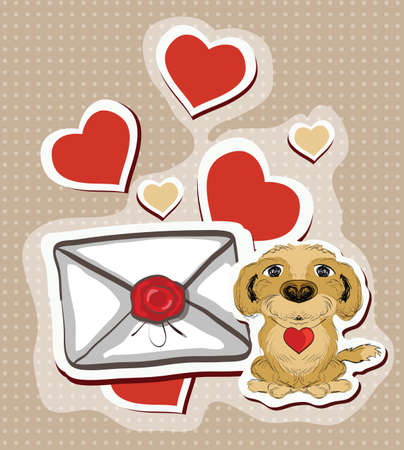wag: Illustration of love letter with funny dog. Clip-art, Illustration.