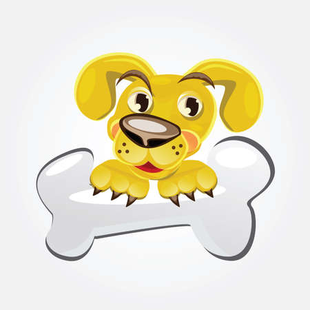 Dog Holding Bone . Clip-art, Illustration. Vector