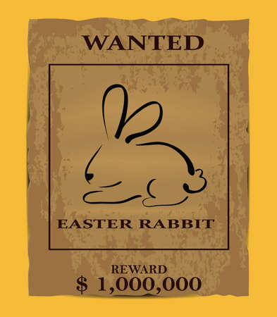 buckaroo: Illustration of old wanted poster with easter rabbit symbol. Clip-art, Illustration.