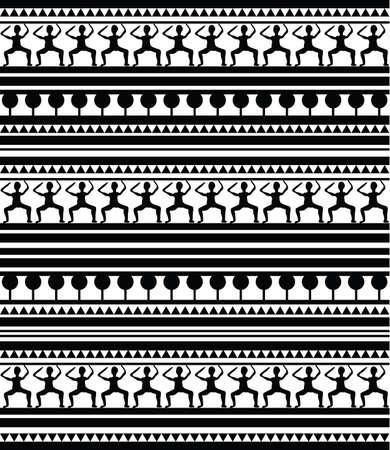 폴리네시아: 흰색 배경에 마오리와 이집트 상형 문자 패턴의 그림입니다. 클립 아트, 일러스트 레이 션입니다.