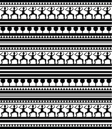 Illustration of Maori and Egypt Hieroglyphs pattern on white background . Clip-art, Illustration. Vector