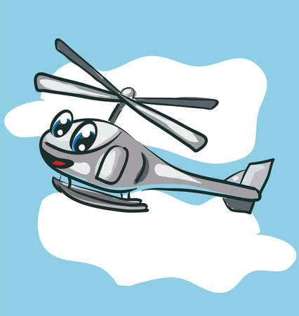 Funny Helicopter . Clip-art, Illustration. Vector
