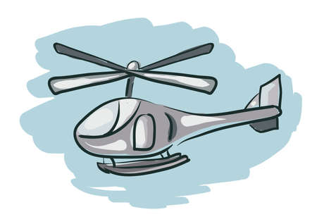 Helicopter Cartoon Sketch . Clip-art, Illustration. Vector