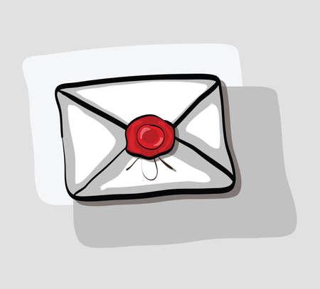 tampon cire: Illustration de l'enveloppe de bande dessin�e avec cachet de cire. Clip-art, Illustration.