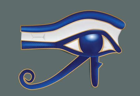 Illustration of realistic eye of Ra on gray background. Clip-art, Illustration.