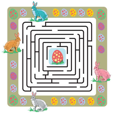Easter maze with bunnies and eggs