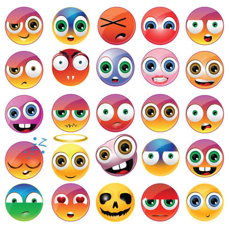 Collection of different emoji faces Фото со стока - 27943490