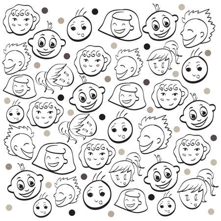 Funny kids faces . Clip-art, Illustration. Vector