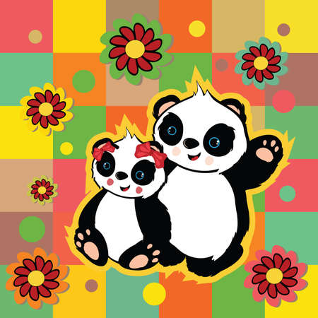 Illustration of beautiful valentine panda bears on colorful background . Clip-art, Illustration. Vector