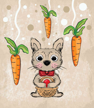 Illustration of cartoon Easter Rabbit holding a basket with red egg on brown vintage background . Clip-art, Illustration. Vector