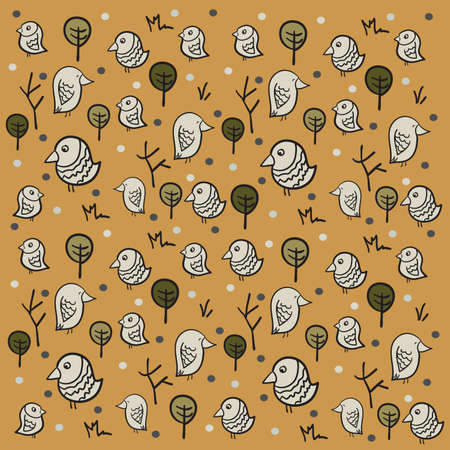 Sparrow Pattern on brown background with cartoon trees . Clip-art, Illustration. Vector