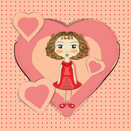 Illustration of hand drawn girl with pink hearts . Clip-art, Illustration. Vector