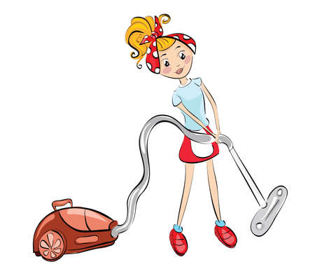 Woman with vacuum cleaner . Clip-art, Illustration. Vector