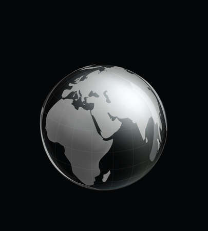 paperweight: Crystal Earth Globe. Clip-art, Illustration.