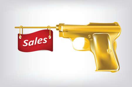 Illustration of golden pistol shutting a flag with sales. Clip-art, Illustration.
