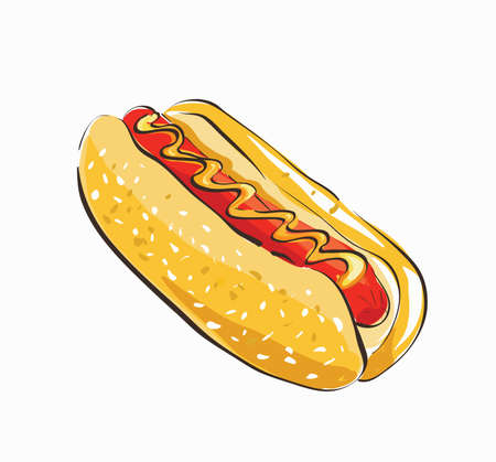 Hot Dog Cartoon. Clip-art, Illustration. Illustration