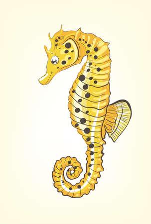 Illustration of beautiful, hand drawn, yellow sea horse on white background . Clip-art, Illustration. Illustration