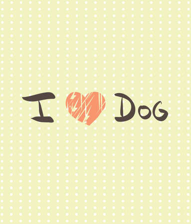 Illustration of hand writing text with I love Dog. Clip-art, Illustration. Vector