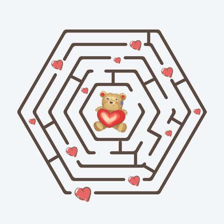 Hexagonal black maze with teddy bear holding a heart Vector
