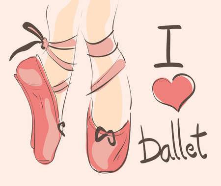 Me encanta Ballet ilustración con mano dibujar, n rosa, zapatos de punta Vectores