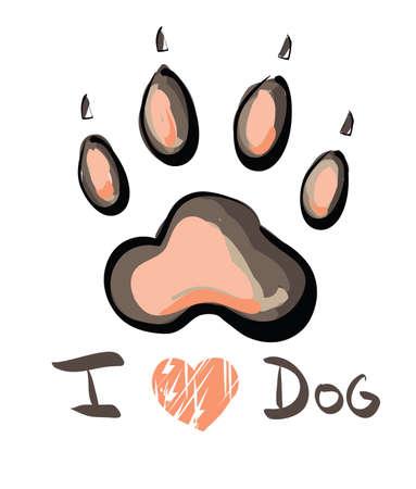 Illustration de patte rose imprimer avec I love texte chien isolé sur fond blanc. Clip-art, Illustration. Banque d'images - 27943612