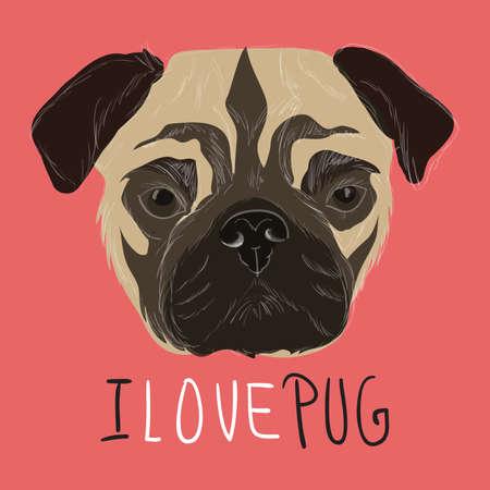 bull's eye: I love pug illustration with hand drawn pug portrait