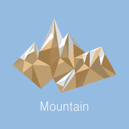 Illustration of cubic style mountain origami on blue background Illustration