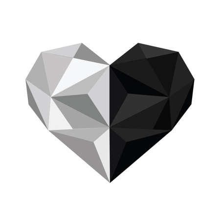 karma design: Illustration of black and white origami heart isolated on white background