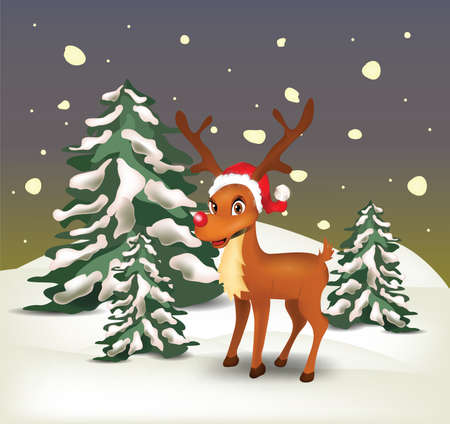 Reindeer in snowy landscape at night . Clip-art, Illustration. Stock Vector - 27943662