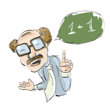 Math Teacher Sketch . Clip-art, Illustration. Vector