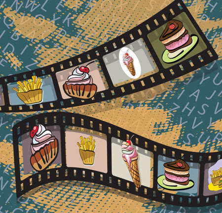 Illustration of film strips with photos of food on blue background . Clip-art, Illustration. Vector