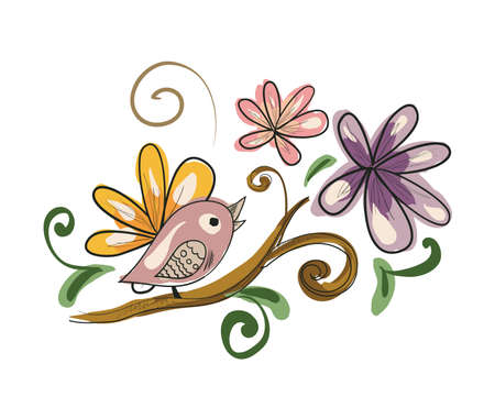 Illustration of cartoon vintage bird on branch with flowers . Clip-art, Illustration.